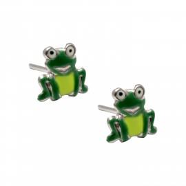 """woofie ασημένια παιδικά σκουλαρίκια """"βάτραχος"""" με άσπρο επιπλατίνωμα και σμάλτο-0130454401"""