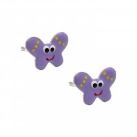 """Ασημένια, παιδικά  σκουλαρίκια  woofie """"πεταλούδα"""" με μωβ σμάλτο, επιπλατινωμένα-0130526201"""