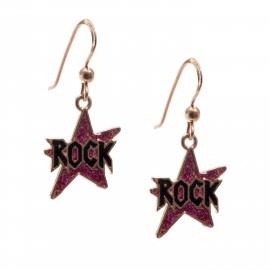 "woofie ασημένια παιδικά σκουλαρίκια ""ροκ"" με ροζ επιχρύσωμα, χρυσόσκονη & σμάλτο-0130530101"