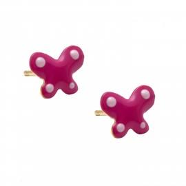 """Ασημένια, παιδικά  σκουλαρίκια  woofie """"πεταλούδα"""" με ροζ σμάλτο, επιχρυσωμένα-0130537904"""