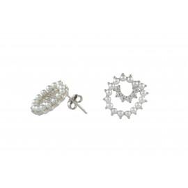 Silverline, ασημένια, γυναικεία, σκουλαρίκια, με, μαργαριτάρια, ζιρκόν, &, άσπρο, επιπλατίνωμα,