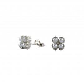 Silverline, ασημένια, γυναικεία, σκουλαρίκια, με, μαργαριτάρια, &, άσπρο, επιπλατίνωμα,