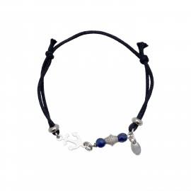 """Ασημένιο ,παιδικό ,βραχιόλι ,woofie, με λευκό επιπλατίνωμα, μπλε χάντρες, μαύρο κορδόνι και """"άγκυρα""""-0230400801"""