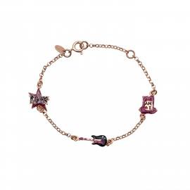 Woofie, ασημένιο, παιδικό , βραχιόλι, για κορίτσια, με σμάλτο, χρυσόσκονη, κιθάρα, μπλουζάκι  & ροζ επιχρύσωμα