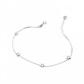 Silverline, ασημένιο, γυναικείο, βραχιόλι, με, αστέρια, &, άσπρο, επιπλατίνωμα, 18+4cmExt.Chain