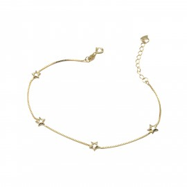 Silverline, ασημένιο, γυναικείο, βραχιόλι, με, αστέρια, &, κίτρινο, επιχρύσωμα, 18+4cmExt.Chain,