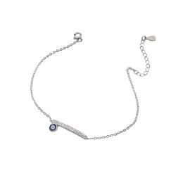 Silverline, ασημένιο, γυναικείο, βραχιόλι, με, ζιργκόν, μάτι, &, άσπρο, επιπλατίνωμα, 19+5cmExt.Chain