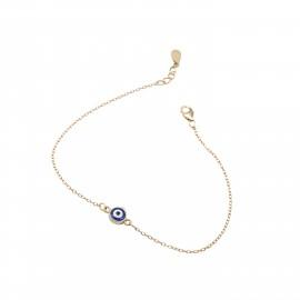 Silverline, ασημένιο, γυναικείο, βραχιόλι, με, σμάλτο, ματάκι, &, κίτρινο, επιχρύσωμα, 18+2cmExt.Chain,