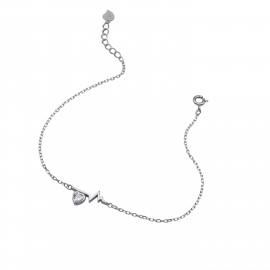 Silverline, ασημένιο, γυναικείο, βραχιόλι, με, καρδιά, ζιργκόν, &, άσπρο, επιπλατίνωμα, 18+2cmExt.Chain,