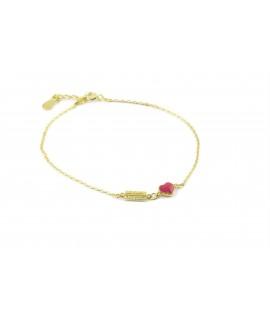 silverline, ασημένιο , γυναικείο βραχιόλι, με ζιργκόν & καρδιά, επιχρυσωμένο με ροζ σμάλτο