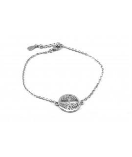 """Ασημένιο Γυναικείο Βραχιόλι silverline επιπλατινωμένο με """"δέντρο ζωής"""""""