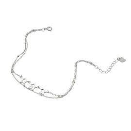 Silverline, ασημένιο, γυναικείο, βραχιόλι, με, αστέρια, &, άσπρο, επιπλατίνωμα, 18+3cmExt.Chain