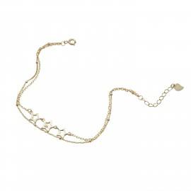 Silverline, ασημένιο, γυναικείο, βραχιόλι, με, αστέρια, &, κίτρινο, επιχρύσωμα, 18+3cmExt.Chain,