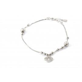 silverline, ασημένιο, γυναικείο  βραχιόλι με σταυρό & ζιργκόν, άσπρο επιπλατίνωμα ή κίτρινο επιχρύσωμα.
