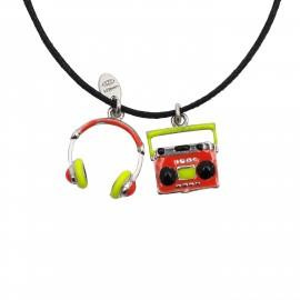 """Ασημένιο, παιδικό, κολιέ, woofie, για κορίτσια, επιπλατινωμένο, με σμάλτο, """"ακουστικά"""" ,  """"κασετόφωνο"""" & βαμβακερό κορδόνι-0330292001"""