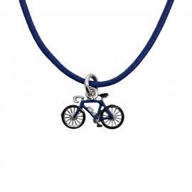 "Woofie, ασημένιο ,παιδικό ,κολιέ , επιπλατινωμένο για αγόρια με σμάλτο , ""ποδήλατο"" &  μπλε βαμβακερό κορδόνι -0330294801"