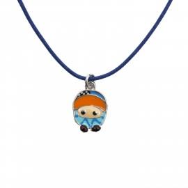 Woofie, ασημένιο ,παιδικό ,κολιέ , επιπλατινωμένο για αγόρια με σμάλτο ,  & μπλε βαμβακερό κορδόνι -0330297901