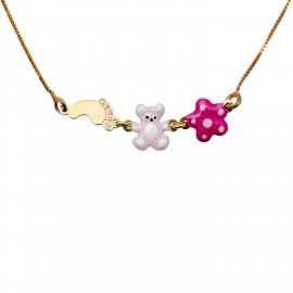 Woofie, ασημένιο, παιδικό , κολιέ, για κορίτσια, με σμάλτο, αρκουδάκι, πατούσα, λουλούδι, λευκό επιπλατίνωμα ή κίτρινο επιχρύσωμα