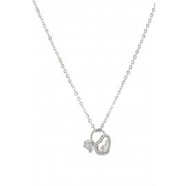 silverline, ασημένιο, γυναικείο  κολιέ με λευκό ζιργκόν, καρδιά, μονόπετρο δαχτυλίδι & άσπρο επιπλατίνωμα ή κίτρινο χρύσωμα