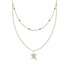 Silverline, ασημένιο, γυναικείο, κολιέ, με, αστέρι, &, κίτρινο, επιχρύσωμα, 36,5+7cmExt.Chain,