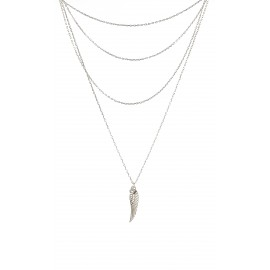 silverline, ασημένιο, γυναικείο  κολιέ 82 εκατοστών με λευκό ζιργκόν, φτερό & άσπρο επιπλατίνωμα