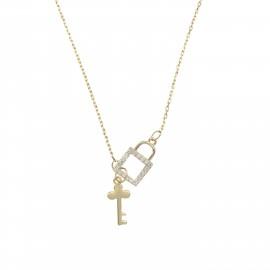 Silverline, ασημένιο, γυναικείο, κολιέ, με, ζιργκόν, κλειδί, κλειδαριά, &, κίτρινο, επιχρύσωμα, 41,5+7,5Ext.Chain,