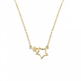 Silverline, ασημένιο, γυναικείο, κολιέ, με, αστέρια, &, κίτρινο, επιχρύσωμα, 41+7cmExt.Chain,
