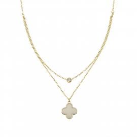 Silverline, ασημένιο, γυναικείο, κολιέ, με, ζιργκόν, σταυρό, σμάλτο, &, κίτρινο, επιχρύσωμα, 37+7,5Ext.Chain,
