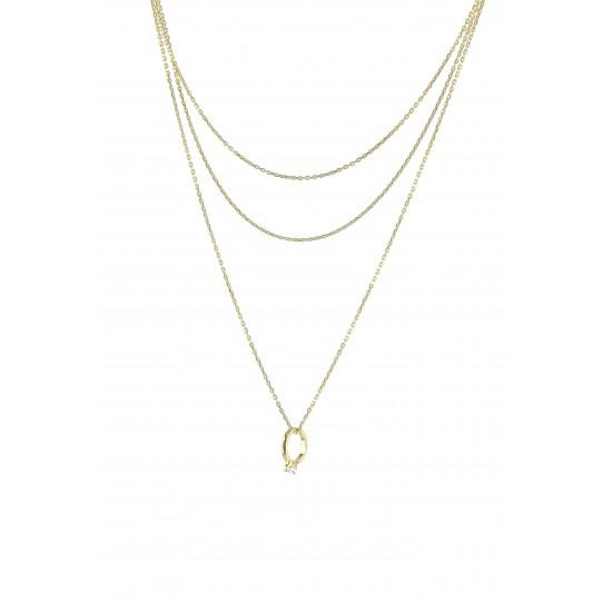 Ασημένιο, γυναικείο, κολιέ, silverline,  80cm, επιχρυσωμένο ή επιπλατινωμένο, με ζιργκόν και μικρό μονόπετρο δαχτυλίδι κρεμαστό.