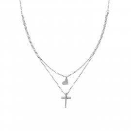 Silverline, ασημένιο, γυναικείο, κολιέ, με, ζιργκόν, σταυρό, καρδιά, &, άσπρο, επιπλατίνωμα, 43+8Ext.Chain,