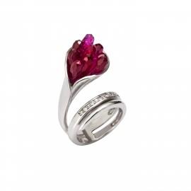 TRIBUTE, γυναικείο , ασημένιο δαχτυλίδι με άσπρο  επιπλατίνωμα, & κόκκινα ζιργκόν