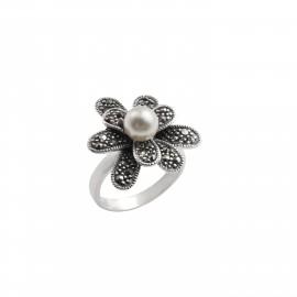 TRIBUTE, ασημένιο, γυναικείο, δαχτυλίδι, λουλούδι, με, πέρλες, μαρκασίτη, &, άσπρο, επιπλατίνωμα,