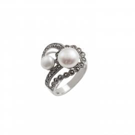 TRIBUTE, ασημένιο, γυναικείο, δαχτυλίδι, με, πέρλα, μαρκασίτη, &, άσπρο, επιπλατίνωμα,