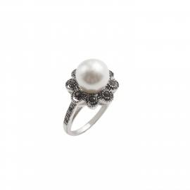 TRIBUTE, ασημένιο, γυναικείο, δαχτυλίδι, λουλούδι, με, πέρλα, μαρκασίτη, &, άσπρο, επιπλατίνωμα,