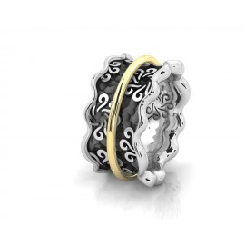 TRIBUTE, ασημένιο, γυναικείο, δαχτυλίδι, με, φλούδα, χρυσού, Κ18, και, ασπρόμαυρο, επιπλατίνωμα