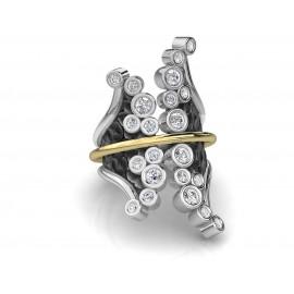 TRIBUTE, ασημένιο, γυναικείο, δαχτυλίδι, με φλούδα, χρυσού, Κ18, άσπρα, τοπάζια, και, μαύρο, ρόδιο
