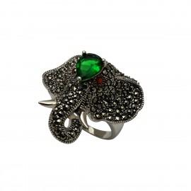 TRIBUTE, ασημένιο, γυναικείο, δαχτυλίδι, ελέφαντας, οξειδωμένο, με, μαρκασίτη, &, πράσινα, ζιργκόν,