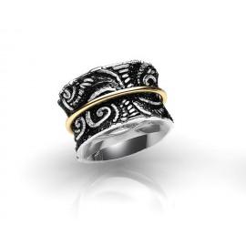 TRIBUTE, ασημένιο, γυναικείο, δαχτυλίδι, με φλούδα, χρυσού, Κ18, και, ασπρόμαυρο, επιπλατίνωμα