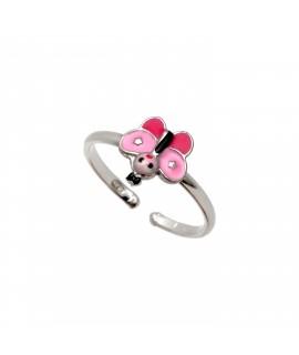 """Ασημένιο, παιδικό δαχτυλίδι woofie """"πεταλούδα"""" με ροζ σμάλτο & άσπρο επιπλατίνωμα-0430665301"""