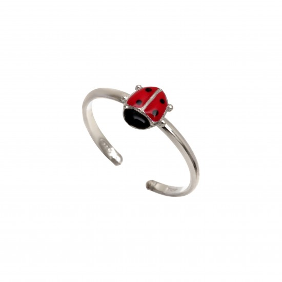 """Ασημένιο, παιδικό, δαχτυλίδι woofie """"πασχαλίτσα"""" με κόκκινο και μαύρο σμάλτο & άσπρο επιπλατίνωμα-0430665401"""
