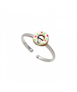 """Ασημένιο, παιδικό, δαχτυλίδι, woofie, σε σχέδιο """"ντόνατ"""" με swarovski, άσπρο επιπλατίνωμα & σμάλτο-0430665701"""