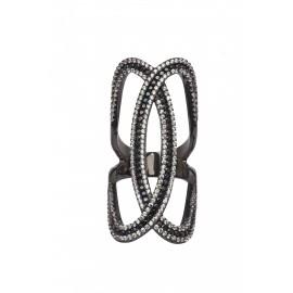 silverline. ασημένιο, γυναικείο δαχτυλίδι με ασπρόμαυρα ζιργκόν & μαύρο επιπλατίνωμα