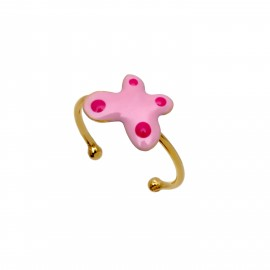 """Ασημένιο, παιδικό δαχτυλίδι woofie """"πεταλούδα"""" με ροζ σμάλτο & κίτρινο επιχρύσωμα-0430673902"""
