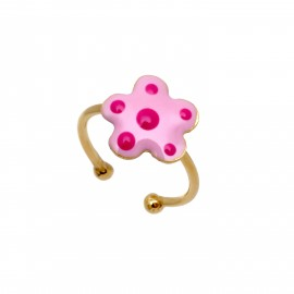 woofie, ασημένιο, παιδικό, δαχτυλίδι, για κορίτσια με σμάλτο, λουλούδι & κίτρινο επιχρύσωμα.