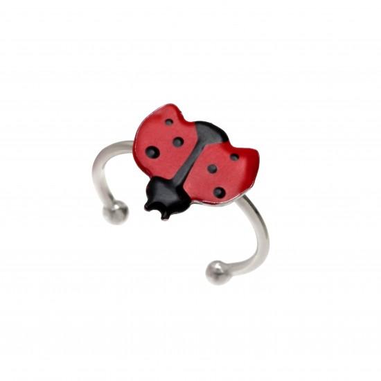 """Ασημένιο, παιδικό, δαχτυλίδι, woofie """"πασχαλίτσα"""" με κόκκινο & μαύρο σμάλτο & άσπρο επιπλατίνωμα-0430674201"""