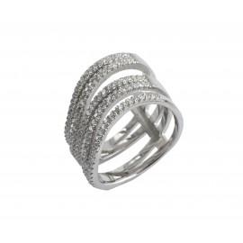 silverline, ασημένιο, γυναικείο δαχτυλίδι με άσπρο επιπλατίνωμα και λευκά ζιργόν, χωρίς νικέλιο