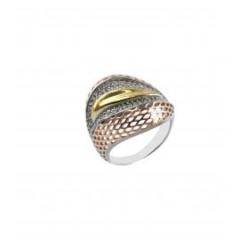 silverline, ασημένιο, γυναικείο  δαχτυλίδι με λευκά ζιργκόν,  άσπρο επιπλατίνωμα, ροζ & κίτρινο επιχρύσωμα, χωρίς νικέλιο