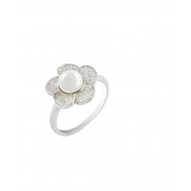 silverline, ασημένιο, γυναικείο  δαχτυλίδι με ζιργκόν, μάτι βασκανίας & άσπρο επιπλατίνωμα
