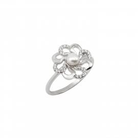 Silverline, ασημένιο, γυναικείο, δαχτυλίδι, με, μαργαριτάρι, ζιργκόν, &, άσπρο, επιπλατίνωμα,