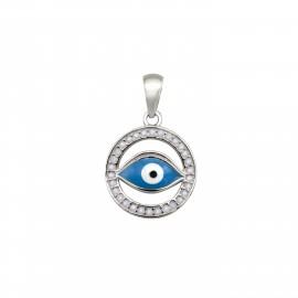 Silverline, ασημένιο, γυναικείο, μενταγιόν, με, μάτι, &, άσπρο, επιπλατίνωμα,